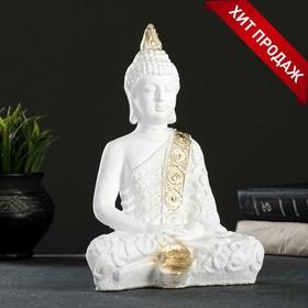 "Фигура ""Будда малый"" 16х9х23см бело-золотая"