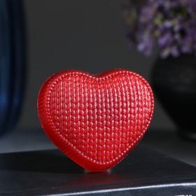 """Фигурное мыло """"Сердечко вязаное"""" красное 70гр"""