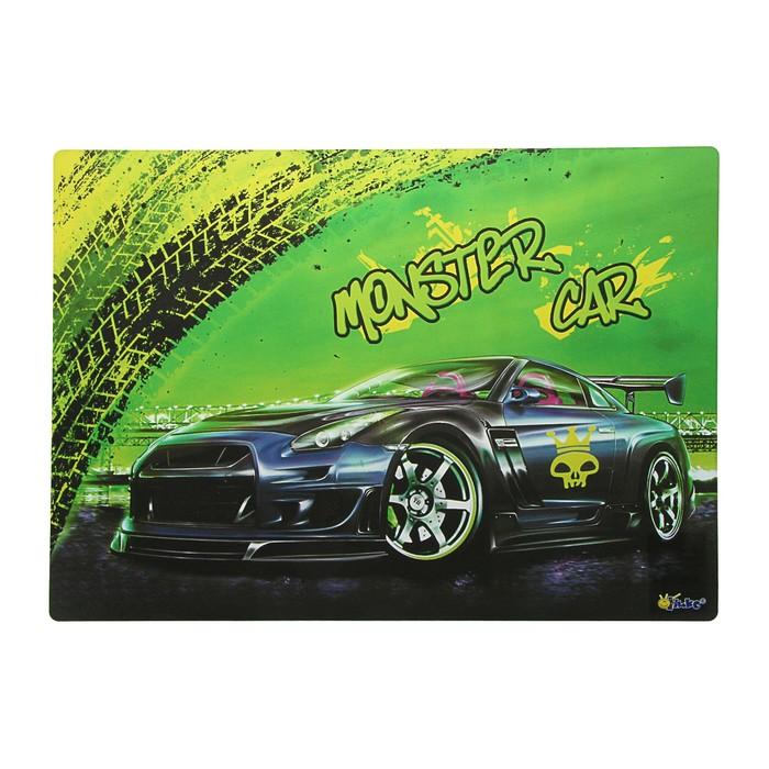 Накладка на стол дизайнерская Monster Car А3+, 46 х 33 см, для мальчика