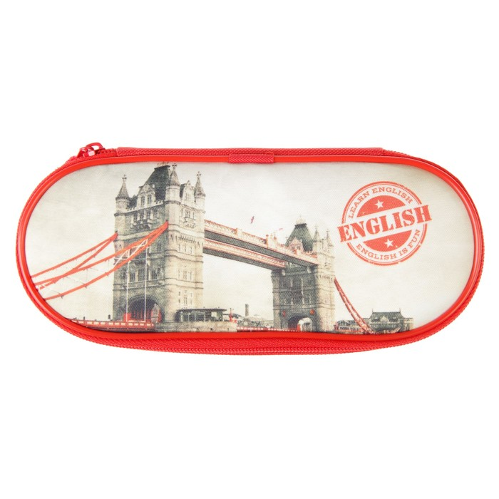 Пенал мягкий футляр ткань «Тауэрский мост», откидная планка, 85х210х50 мм