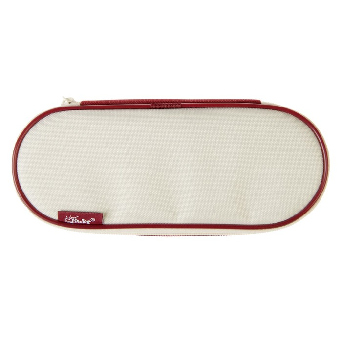 Пенал мягкий футляр ткань, откидная планка, 85х210х50 мм, бордовый-бежевый