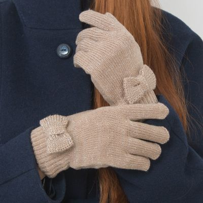 """Перчатки женские """"Бант"""", размер 18, цвет золото"""
