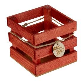 Ящик реечный с биркой 'От всего сердца', красный, 10 х 10 х 9 см Ош