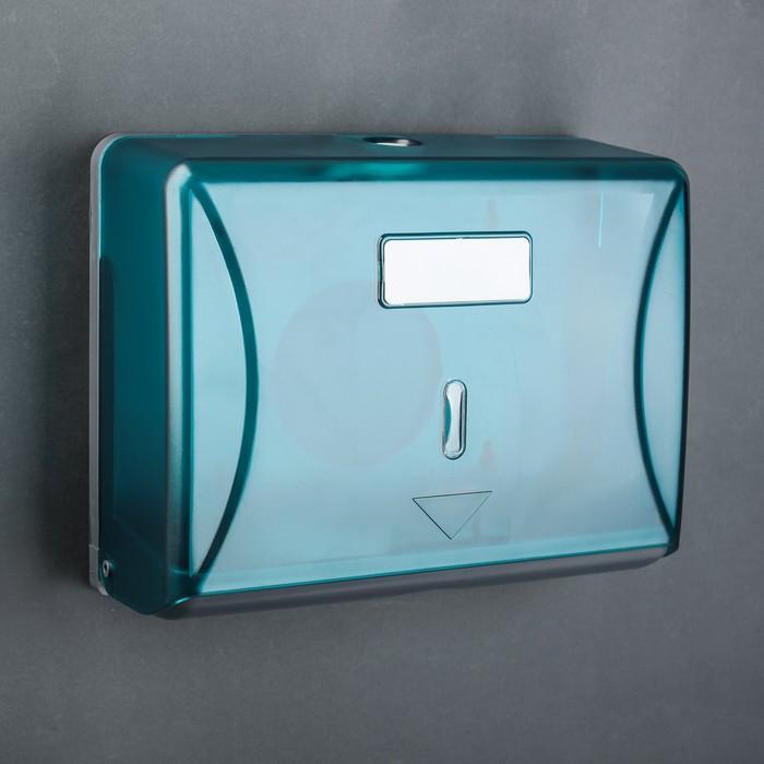 Диспенсер бумажных полотенец в листах, 15,5×19×10 см, пластиковый, цвет голубой