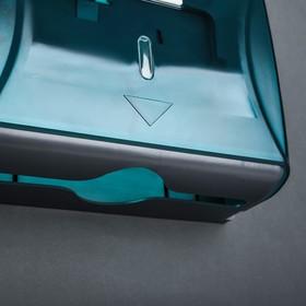Диспенсер бумажных полотенец в листах, 15,5×19×10 см, пластиковый, цвет голубой - фото 4648471