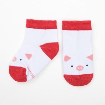 """Носки Крошка Я """"Новый год. Поросенок"""" 8-10 см, 6-9 мес, 100% хлопок"""