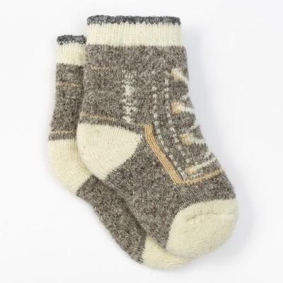 Носки детские шерстяные «Кеды-шнуровка», цвет бежевый, размер 14