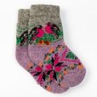 Носки детские шерстяные «Снегири», цвет сиреневый, размер 16
