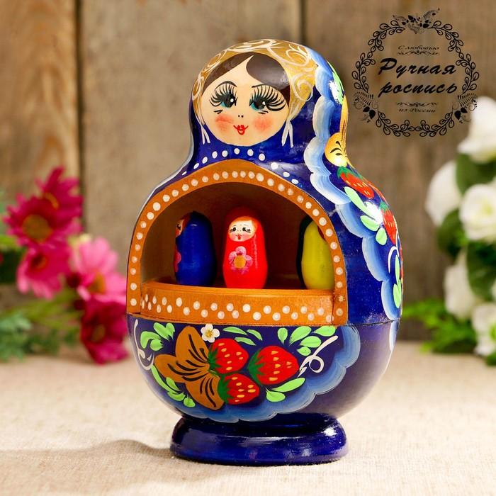 Сувенир музыкальный «Матрёшка», синее платье, 20 см
