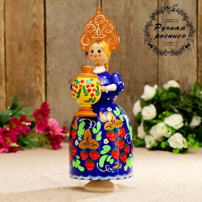 Сувенир музыкальный «Барыня с самоваром», синее платье, золотой кокошник, 20 см