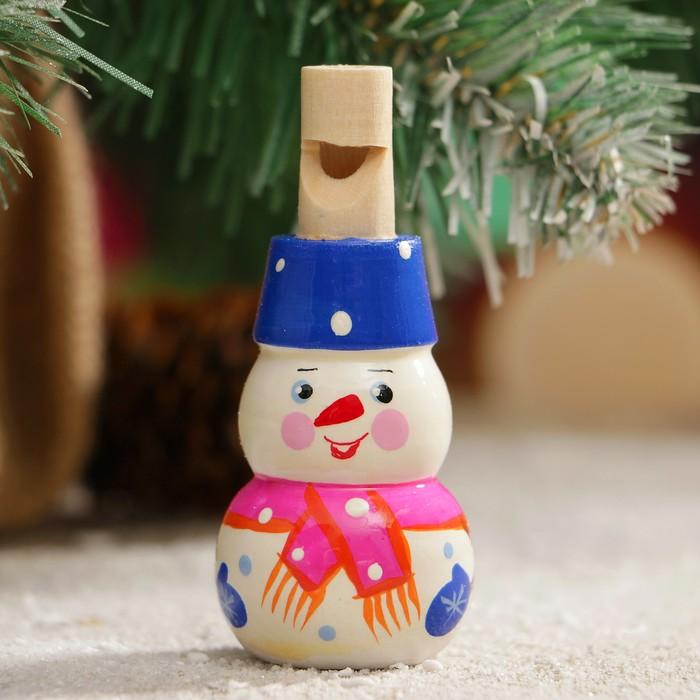 Свистулька «Снеговик», 3х7 см, микс