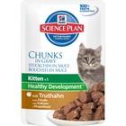Влажный корм Hill's Cat для котят, индейка кусочки в соусе, пауч, 85 г