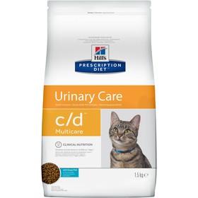 Сухой корм Hill's PD c/d multicare Urinary Care для кошек, профилактика МКБ, рыба, 1.5 кг