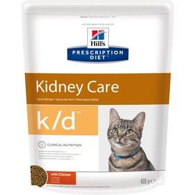 Сухой корм Hill's Cat k/d для кошек, лечение II стадии почечной недостаточности, курица, 400 г