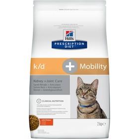 Сухой корм Hill's Cat k/d+mobility для кошек, лечение почечной недостаточности и суставов, 2 кг