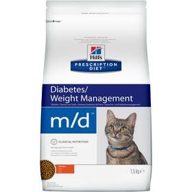 Сухой корм Hill's PD m/d Diabetes для кошек, лечение диабета, курица, 1.5 кг