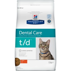 Сухой корм Hill's PD t/d для кошек, при заболеваниях полости рта, курица, 1.5 кг