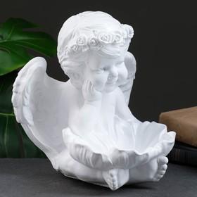 """Фигура """"Ангел с кувшинкой"""" 23х23х27см белый"""