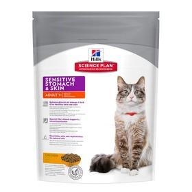 Сухой корм Hill's Cat sensitive stomach skin для кошек, здоровье кожи и пищеварения, 400 г