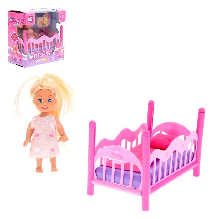 """Кукла малышка """"Ева"""" в кроватке, с аксессуарами"""