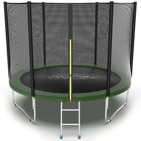 Батут EVO JUMP External 10 ft, d=305 см, с внешней сеткой и лестницей, зелёный
