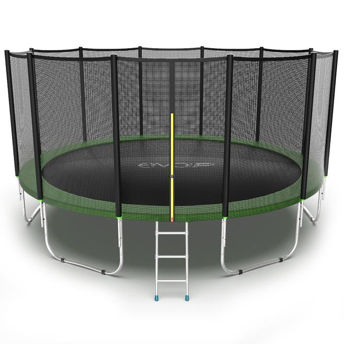Батут с внешней сеткой и лестницей EVO JUMP External, диаметр 16ft (зеленый)