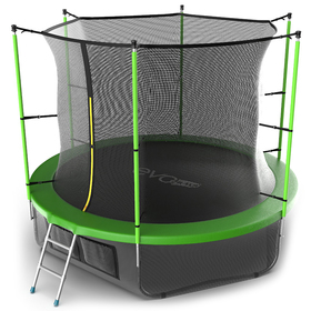 Батут EVO JUMP Internal 10 ft, d=305 см, с внутренней сеткой, нижней сеткой и лестницей, зелёный