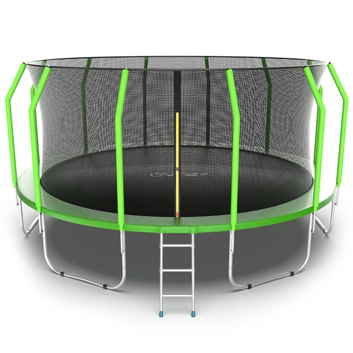 Батут с внутренней сеткой и лестницей EVO JUMP Cosmo, диаметр 16ft (зеленый)