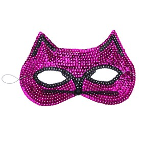 """Carnival mask """"Cat"""" with sequins, fuchsia"""