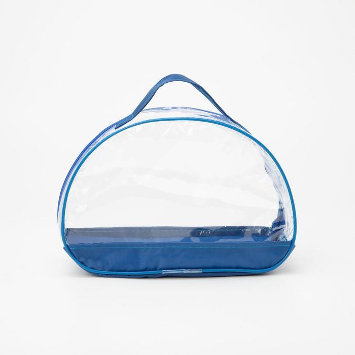 Косметичка ПВХ, отдел на молнии, с ручкой, цвет голубой