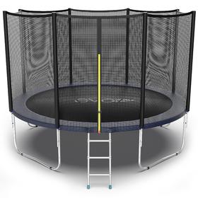 Батут EVO JUMP External 12 ft, d=366 см, с внешней защитной сеткой и лестницей, синий
