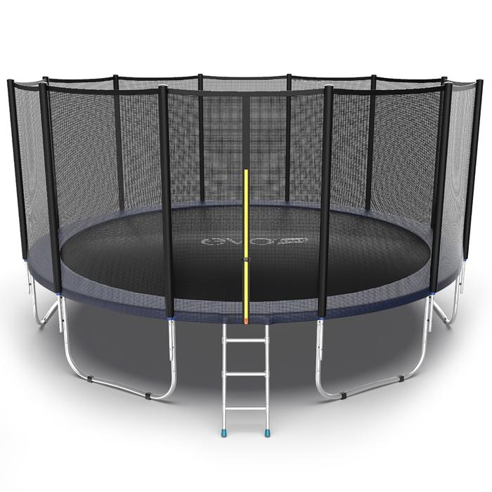 Батут с внешней сеткой и лестницей EVO JUMP External, диаметр 16ft (синий)