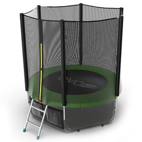 Батут EVO JUMP External 6 ft, d=183 см, с внешней сеткой, нижней сеткой и лестницей, зелёный