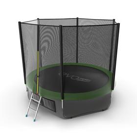 Батут EVO JUMP External 10 ft, d=305 см, с внешней сеткой, нижней сеткой и лестницей, зелёный