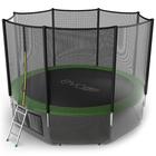 Батут с внешней сеткой и лестницей EVO JUMP External, диаметр 12ft (зеленый) + нижняя сеть