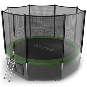 Батут EVO JUMP External 12 ft, d=366 см, с внешней защитной сеткой и лестницей + нижняя сеть, зелёный