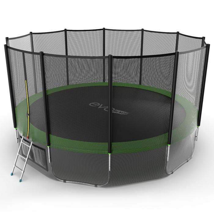 Батут с внешней сеткой и лестницей EVO JUMP External, диаметр 16ft (зеленый) + нижняя сеть