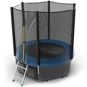 Батут EVO JUMP External 6 ft, d=183 см, с внешней сеткой, нижней сеткой и лестницей, синий