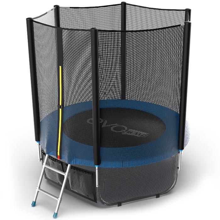 Батут с внешней сеткой и лестницей EVO JUMP External, диаметр 6ft (синий) + нижняя сеть