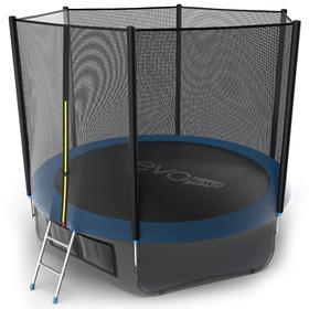 Батут EVO JUMP External 10 ft, d=305 см, с внешней сеткой, нижней сеткой и лестницей, синий