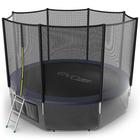 Батут с внешней сеткой и лестницей EVO JUMP External, диаметр 12ft (синий) + нижняя сеть