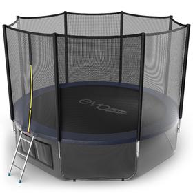 Батут EVO JUMP External 12 ft, d=366 см, с внешней защитной сеткой и лестницей + нижняя сеть, синий