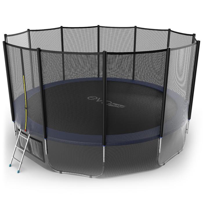 Батут с внешней сеткой и лестницей EVO JUMP External, диаметр 16ft (синий) + нижняя сеть