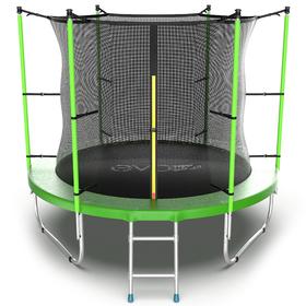 Батут EVO JUMP Internal 8 ft, d=244 см, с внутренней защитной сеткой и лестницей, зелёный