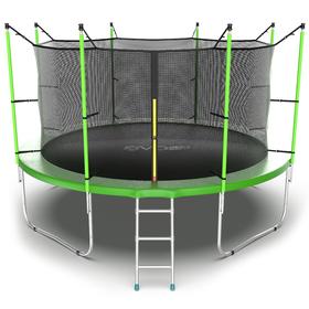 Батут EVO JUMP Internal 12 ft, d=366 см, с внутренней защитной сеткой и лестницей, зелёный