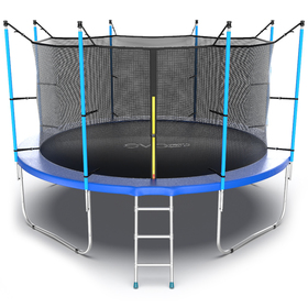 Батут EVO JUMP Internal 12 ft, d=366 см, с внутренней защитной сеткой и лестницей, синий