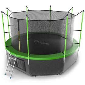 Батут EVO JUMP Internal 12 ft, d=366 см, с внутренней защитной сеткой и лестницей + нижняя сеть, зелёный