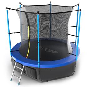 Батут EVO JUMP Internal 8 ft, d=244 см, с внутренней защитной сеткой и лестницей + нижняя сеть, синий