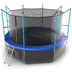 Батут с внутренней сеткой и лестницей EVO JUMP Internal, диаметр 12ft (синий) + нижняя сеть   379461
