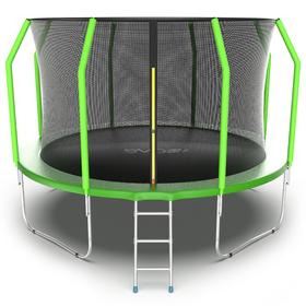 Батут EVO JUMP Cosmo 12 ft, d=366 см, с внутренней защитной сеткой и лестницей, зелёный